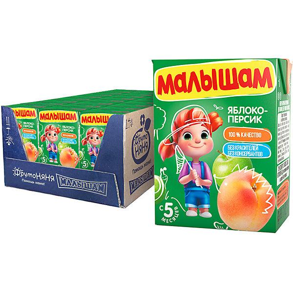 Купить Нектар Малышам яблочно-персиковый неосветлённый, с 5 мес, 18 шт по 200 г, ФрутоНяня, Россия, Унисекс