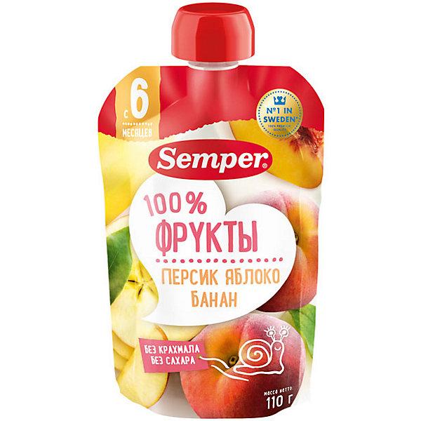 Купить Пюре Semper персик, яблоко, банан, с 6 мес, 12 шт, Испания, Унисекс
