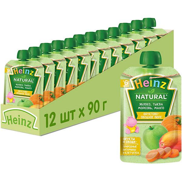 Купить Heinz - пюре яблоко, тыква, морковь, манго (пауч), 6 мес., 90/12, Россия, Унисекс