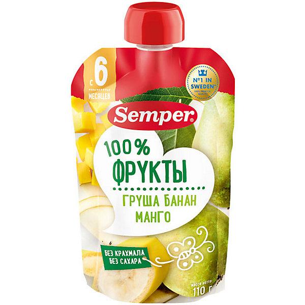 Semper Пюре Semper груша, банан , манго, с 6 мес, 12 шт