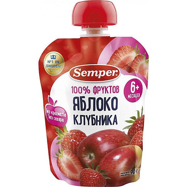 Semper Пюре Semper яблоко и клубника, с 6 мес, 12 шт