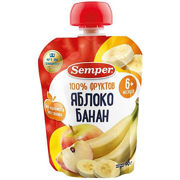 Semper Пюре Semper яблоко и банан, с 6 мес, 12 шт
