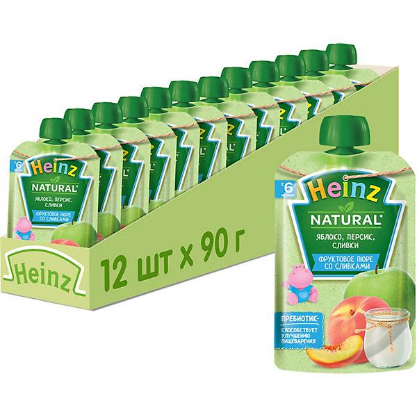 Купить Heinz - пюре яблоко, персик, сливки (пауч), 6 мес., 90/12, Россия, Унисекс