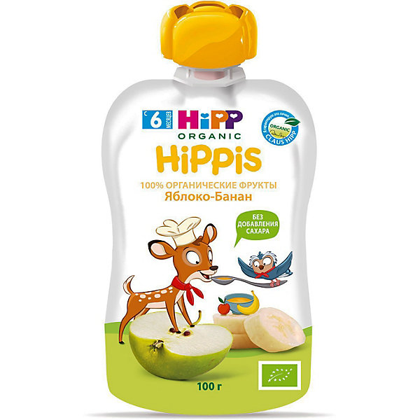 Купить HiPP- пюре яблоко, банан HiPPis (пауч) 6 мес., 100/6, Австрия, Унисекс