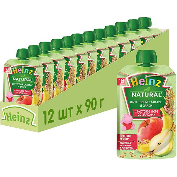 Купить Heinz - пюре фруктовый салатик и злаки (пауч), 6 мес., 90/12, Россия, Унисекс