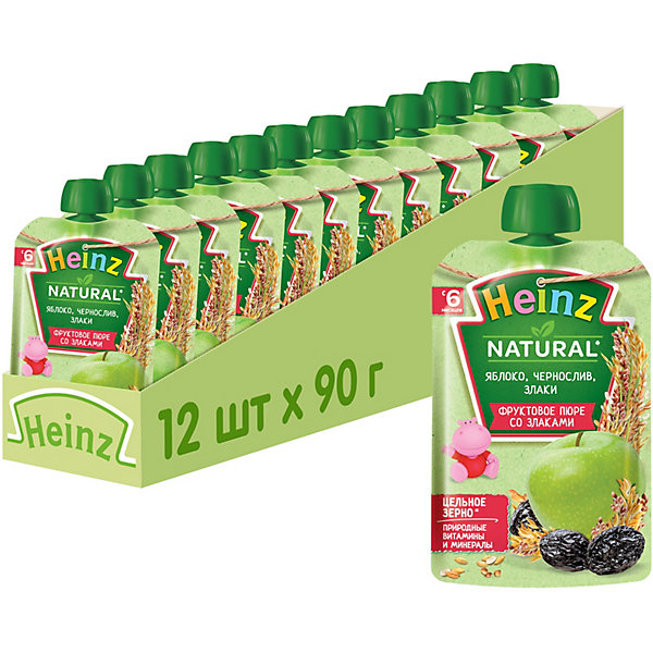 Heinz Пюре Heinz яблоко, чернослив и злаки, с 6 мес, 12 штук