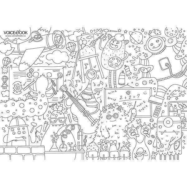 VoiceBook Гигантская напольная раскраска Монстрики, А0 voicebook гигантская напольная раскраска замок принцессы а0