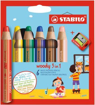 STABILO Набор цветных карандашей Stabilo Woody,6цв+точилка, картон