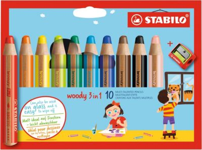 Набор супертолстых цветных карандашей Stabilo Woody 10цв+точилка, картон, new design, артикул:1550470 - Рисование и раскрашивание