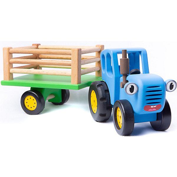 Игрушка деревянная BochArt Синий Трактор с прицепом