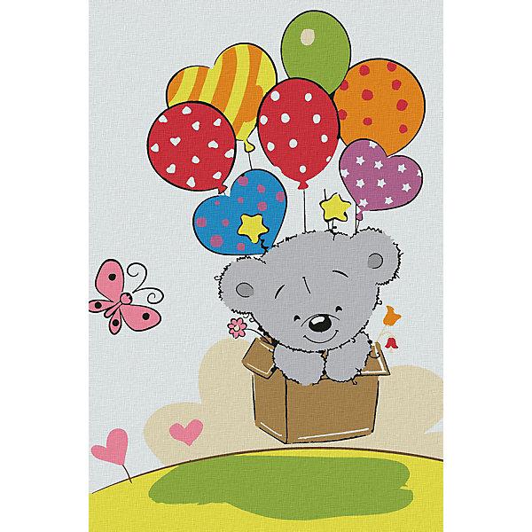 Котеин Картина по номерам Котеин Медвежонок с шариками