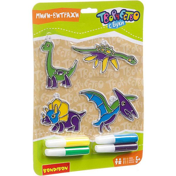 Bondibon Набор для творчества Bondibon Витражи Динозавры, 4 шт bondibon набор для творчества королева бусинка цвет желтый розовый фиолетовый