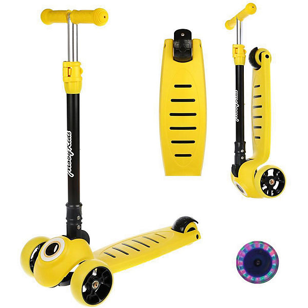 Купить Трёхколёсный самокат Moby Kids, 120 мм, Китай, желтый, Унисекс