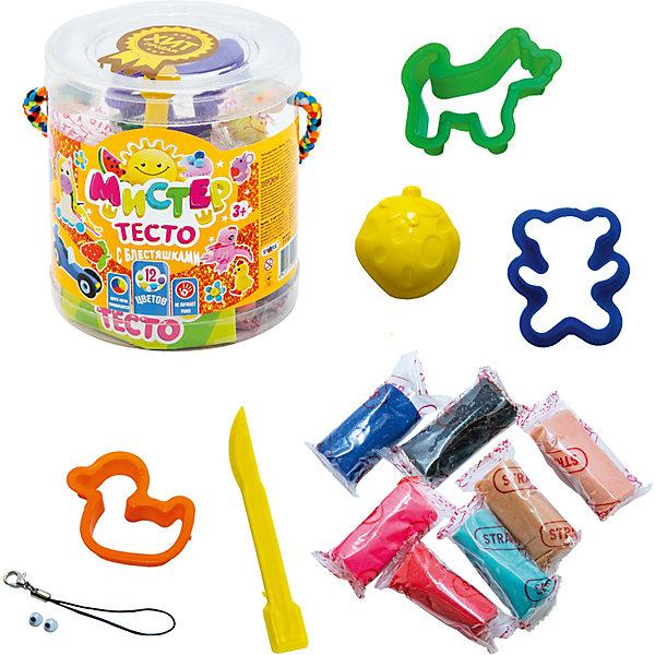 Strateg Тесто для лепки Strateg Мистер тесто с глиттером, 12 цветов