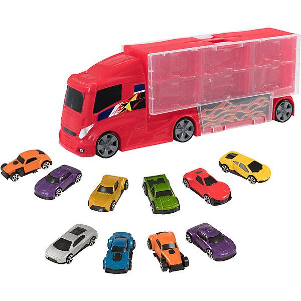 Купить Игровой набор HTI Teamsterz Грузовик с 10 машинками, Китай, красный, Мужской