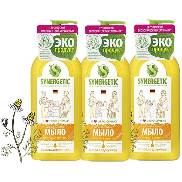 Купить Жидкое мыло Synergetic Полевые цветы, 3 шт х 500 мл, Россия, Унисекс