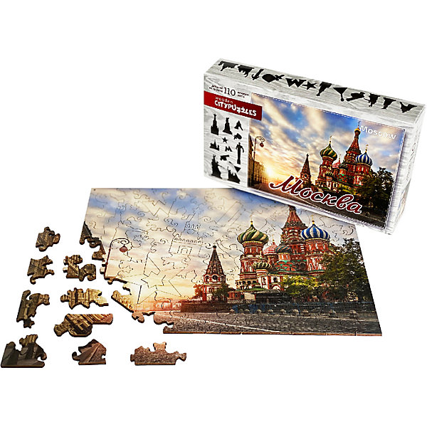 Нескучные игры Фигурные деревянные пазлы Нескучные игры Citypuzzles Москва пазл нескучные игры кошки 8067 45