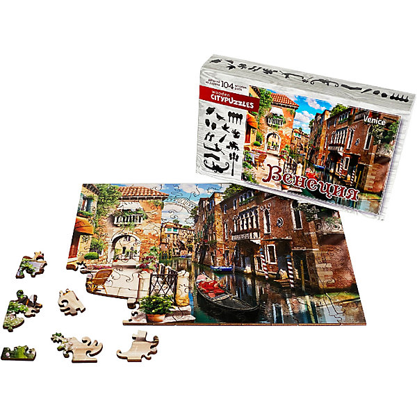 Нескучные игры Фигурные деревянные пазлы Нескучные игры Citypuzzles Венеция пазл нескучные игры кошки 8067 45