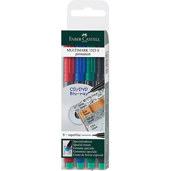 Купить Набор маркеров Faber-Castell Multimark permanent, 4 цвета, Германия, зеленый, Унисекс