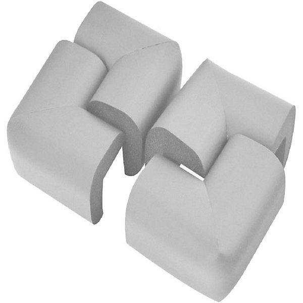 Защита на углы стола Baby Safe, 6х6 см, 4 шт, серый