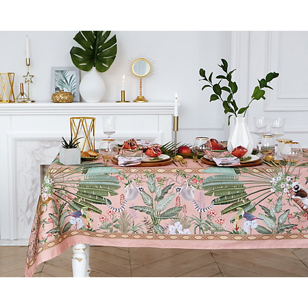 Купить Скатерть Этель Tropical animals, 110х145 см +/-3 см, Россия, розовый, Унисекс