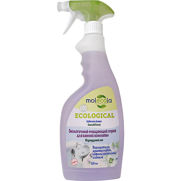 Molecola Очищающий спрей для ванной комнаты Molecola Изумрудный лес, 500 мл универсальный спрей molecola для кухонных поверхностей экологичный 500 мл