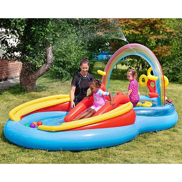 Intex Детский надувной игровой комплекс с горкой Радуга, Intex