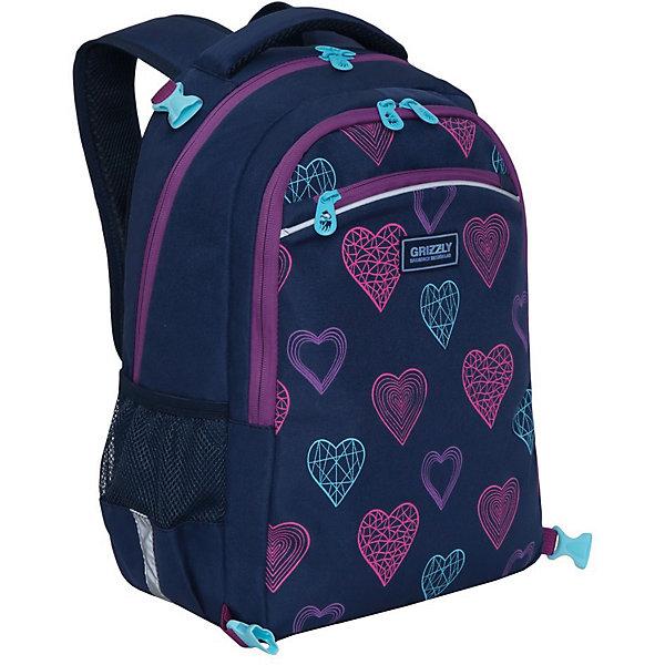 Рюкзак школьный с мешком для обуви Grizzly Сердца