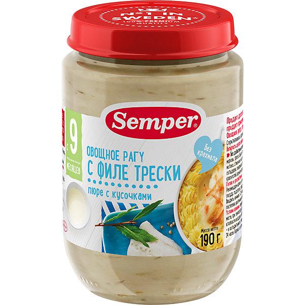 Пюре Semper овощное рагу с филе трески с 9 мес, 12 шт х 190 г