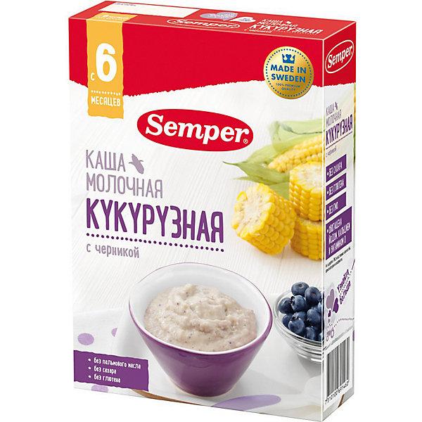 Сухая молочная каша Semper кукурузная с черникой, с 6 мес, 200 г