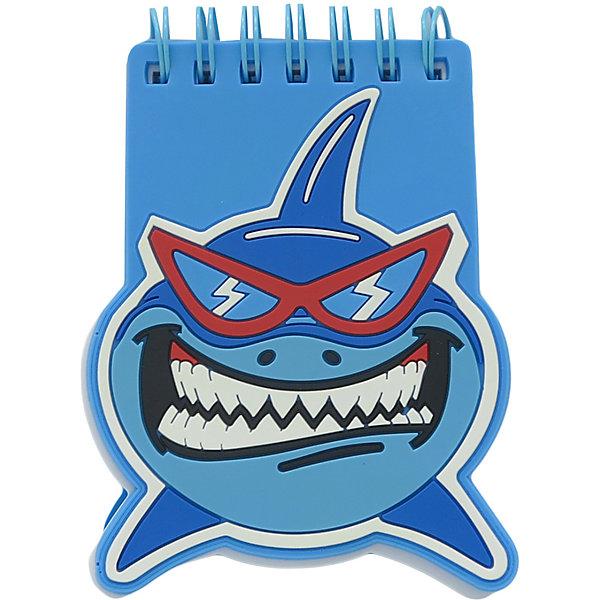 Мини блокнот на кольцах Акула синий фото