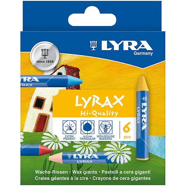 LYRA Утолщенные восковые карандаши, 6 шт. пифагор восковые карандаши 24 цвета