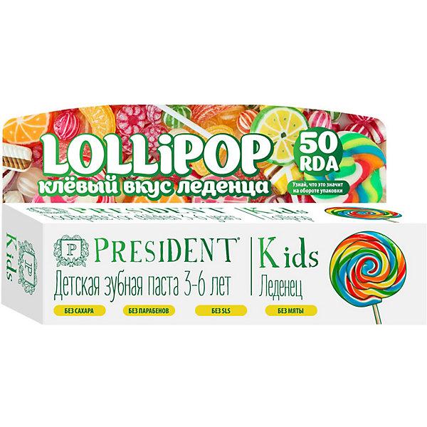 Купить Зубная паста President Kids Lollipop 3-6 лет, 50 мл, Россия, Унисекс