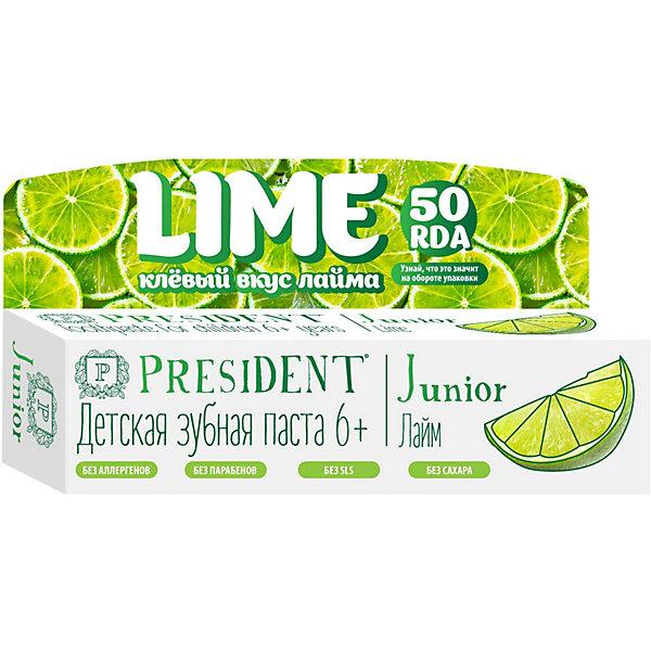 Купить Зубная паста President Junior Лайм, от 6 лет, 50 мл, Италия, Унисекс