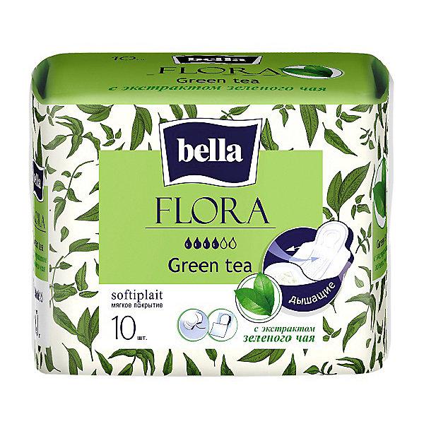 Прокладки Bella Flora Green tea с экстрактом зеленого чая,  4 капли, 10 шт