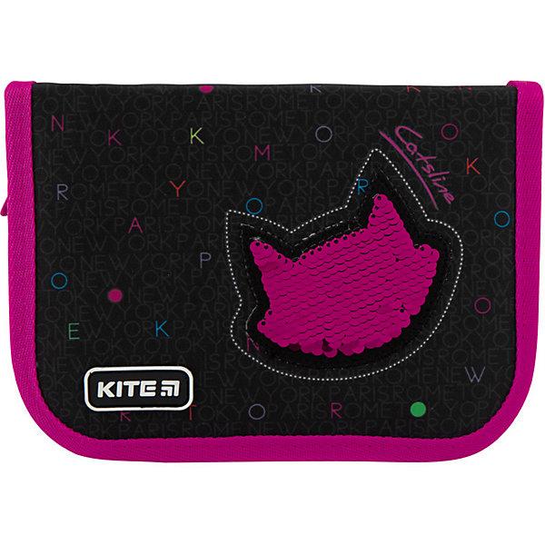 Купить Пенал Kite Catsline, без наполнения, Китай, черный, Женский