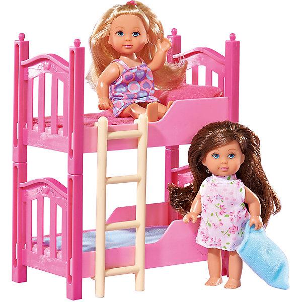 Еви с кроваткой, 2 шт, SimbaКуклы<br>Еви с кроваткой, 2 шт, Simba (Симба) – этот игровой набор станет прекрасным подарком для вашей малышки.<br>Две куклы Еви с двухъярусной кроватью розового цвета - прекрасный игровой набор для вашей девочки. С ним можно придумать увлекательные сюжеты для игры в дочки-матери. Двухъярусная кроватка оборудована бортиками для того, чтобы Еви и ее сестричка случайно не упали. На второй ярус ведет приставная лестница. Уникальность кроватки в том, что при желании она с легкостью разделяется на два отдельных спальных места. В комплекте идут спальные принадлежности. У малышек Еви детские пухленькие лица, нарисованные выразительные голубые глаза, подвижные ручки и ножки. Вашей дочурке непременно понравится расчесывать шелковистые длинные волосы кукол и придумывать им разнообразные прически. Набор тщательно детализован, изготовлен из высококачественных и абсолютно безопасных материалов.<br><br>Дополнительная информация:<br><br>- В комплекте: 2 куклы (блондинка и брюнетка), двухъярусная кровать, лесенка, спальные принадлежности<br>- Высота куклы: 12 см.<br>- Материал: высококачественный пластик, текстиль<br>- Размер упаковки: 22х16,5х8,5 см.<br>- Вес: 300 гр.<br><br>Куклу Еви с кроваткой, 2 шт, Simba (Симба) можно купить в нашем интернет-магазине.<br>Ширина мм: 230; Глубина мм: 162; Высота мм: 90; Вес г: 289; Возраст от месяцев: 36; Возраст до месяцев: 72; Пол: Женский; Возраст: Детский; SKU: 1623618;