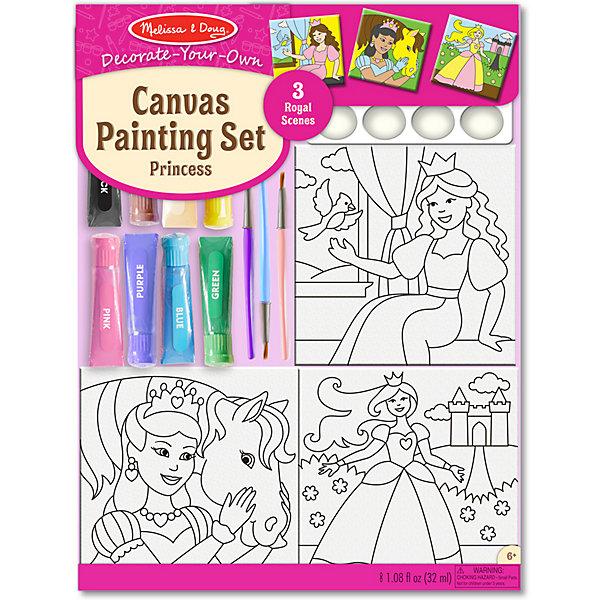 Купить Набор раскрасок на холсте Melissa&Doug Принцессы, Melissa & Doug, США, разноцветный, Унисекс