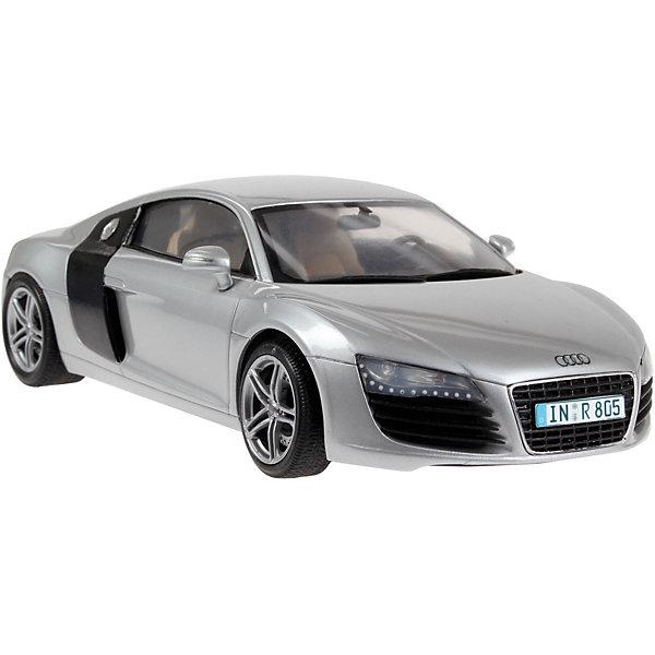 а/м Audi R8 (1:24)Автомобили<br>Характеристики товара:<br><br>• возраст: от 10 лет;<br>• масштаб: 1:24;<br>• количество деталей: 106 шт;<br>• материал: пластик; <br>• клей и краски в комплект не входят;<br>• длина модели: 18,4 см;<br>• бренд, страна бренда: Revell (Ревел),Германия;<br>• страна-изготовитель: Германия.<br><br>Сборная модель для склеивания «Автомобиль Audi R8» поможет вам и вашему ребенку придумать увлекательное занятие на долгое время и получить хорошую игрушку.<br><br>Набор включает в себя 106 пластиковых элементов и наклейки  из которых можно собрать невероятно реалистичную машинку. В комплект также входит схематичная инструкция. Собранный автомобиль имеет прекрасно проработанный салон и реалистичную детализацию.<br><br>Процесс сборки развивает интеллектуальные и инструментальные способности, воображение и конструктивное мышление, а также прививает практические навыки работы со схемами и чертежами.<br><br>Обращаем ваше внимание на тот факт, что для сборки этой модели клей, кисточки и краски в комплект не входят. <br><br>Сборную модель для склеивания «Автомобиль Audi R8», 106 дет., Revell (Ревел) можно купить в нашем интернет-магазине.<br>Ширина мм: 351; Глубина мм: 66; Высота мм: 212; Вес г: 425; Возраст от месяцев: 36; Возраст до месяцев: 1164; Пол: Мужской; Возраст: Детский; SKU: 1632303;