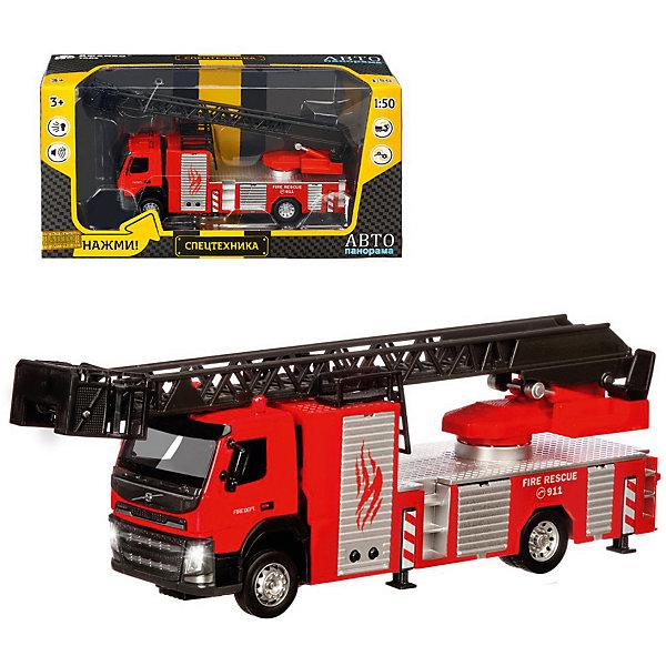 Купить Машинка Автопанорама Цельнометаллическая Volvo Пожарная машина, 23 х 5 х 6, 5 см, Гонконг, красный, Мужской