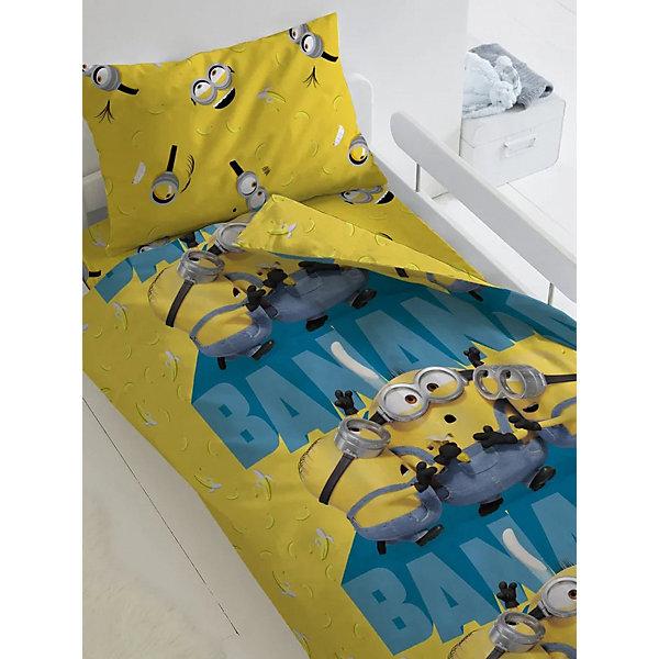Купить Комплект постельного белья 1, 5 сп Непоседа Миньоны 2 Банана , Россия, weiß/beige, Унисекс