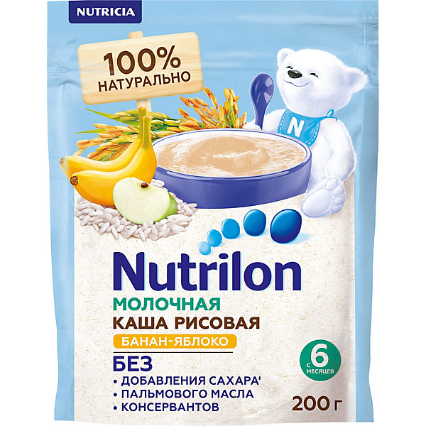Nutrilon молочная каша NUTRILON МК РИСОВАЯ БАНАН-ЯБЛОКО (6X200)