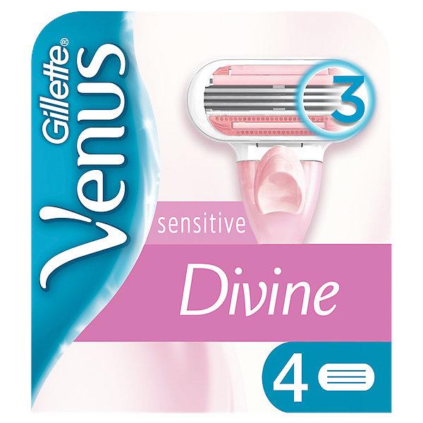 Gillette Сменные кассеты для бритвы Gillette Venus Divine Sensitive, 4 шт сменные кассеты для бритья gillette venus breeze 4 шт [80244192]