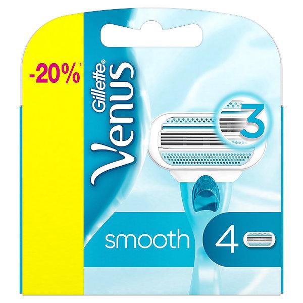 Gillette Кассеты Venus Smooth 4шт сменные кассеты для бритья gillette venus breeze 4 шт [80244192]