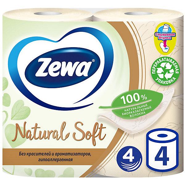 Туалетная бумага Zewa Natural Soft, 4 слоя, 4 рулона