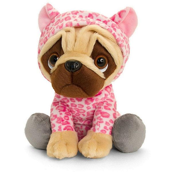 Keel Toys Мягкая игрушка Keel toys Pugsley Мопс в наряде розового леопарда, 22 см мягкая игрушка мопс в одежде микс цветов 11 7 см