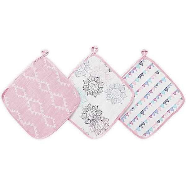 Купить Набор полотенец для лица и рук Aden Anais Pretty Pink, 3 шт, aden+anais, США, Унисекс