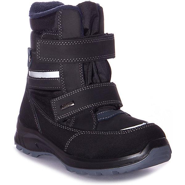 Утеплённые ботинки Котофей черного цвета