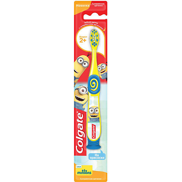Colgate Зубная щётка Colgate Миньоны детская, 2+ colgate зубная щётка для детей от 2 до 5 лет spiderman colgate синий зеленый