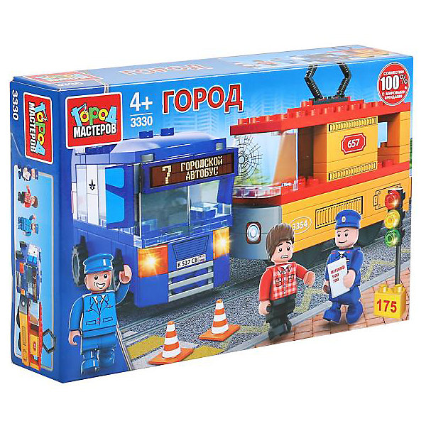 Город мастеров Конструктор Город мастеров авария: троллейбус+трамвай, с фигурками, 175 дет.